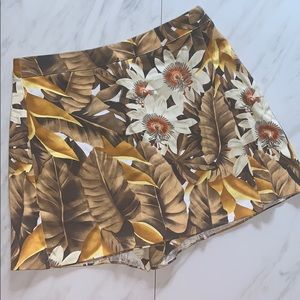 Cache Brown and Yellow Floral/Palm Leaf Skort